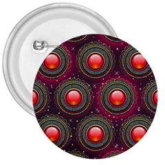 Abstract Circle Gem Pattern 3  Buttons
