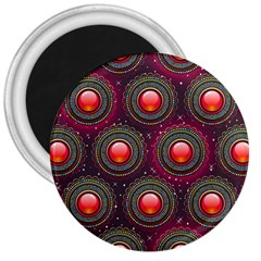 Abstract Circle Gem Pattern 3  Magnets
