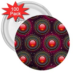 Abstract Circle Gem Pattern 3  Buttons (100 pack)