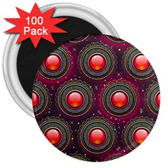 Abstract Circle Gem Pattern 3  Magnets (100 pack)