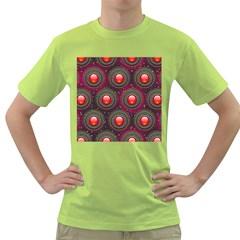 Abstract Circle Gem Pattern Green T Shirt