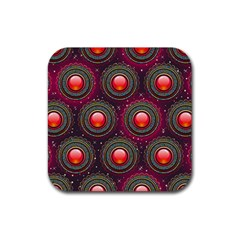 Abstract Circle Gem Pattern Rubber Square Coaster (4 Pack)