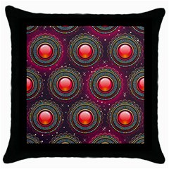 Abstract Circle Gem Pattern Throw Pillow Case (Black)