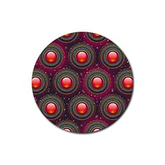 Abstract Circle Gem Pattern Rubber Coaster (round)