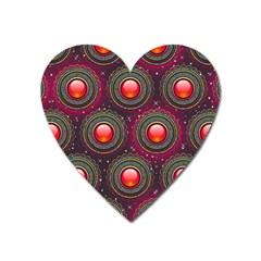Abstract Circle Gem Pattern Heart Magnet