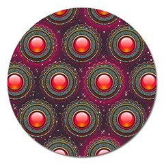 Abstract Circle Gem Pattern Magnet 5  (Round)