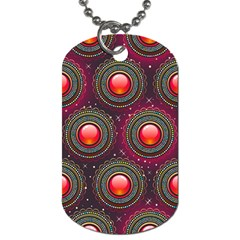 Abstract Circle Gem Pattern Dog Tag (one Side)