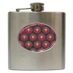 Abstract Circle Gem Pattern Hip Flask (6 oz)
