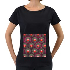 Abstract Circle Gem Pattern Women s Loose Fit T Shirt (black)