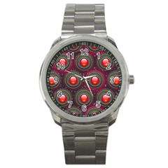 Abstract Circle Gem Pattern Sport Metal Watch