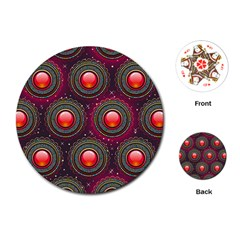 Abstract Circle Gem Pattern Playing Cards (round)
