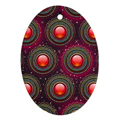 Abstract Circle Gem Pattern Oval Ornament (Two Sides)