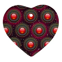 Abstract Circle Gem Pattern Heart Ornament (Two Sides)