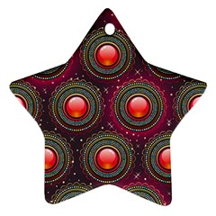 Abstract Circle Gem Pattern Star Ornament (Two Sides)