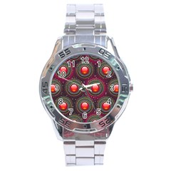 Abstract Circle Gem Pattern Stainless Steel Analogue Watch