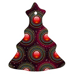 Abstract Circle Gem Pattern Christmas Tree Ornament (Two Sides)