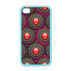 Abstract Circle Gem Pattern Apple Iphone 4 Case (color)