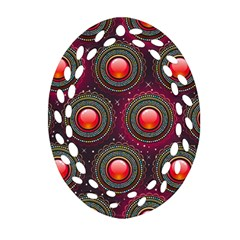 Abstract Circle Gem Pattern Oval Filigree Ornament (two Sides)