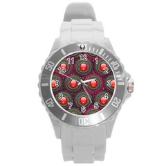 Abstract Circle Gem Pattern Round Plastic Sport Watch (l)