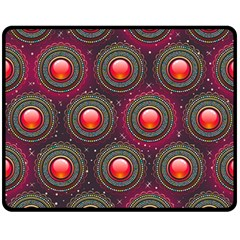 Abstract Circle Gem Pattern Double Sided Fleece Blanket (medium)