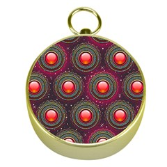 Abstract Circle Gem Pattern Gold Compasses