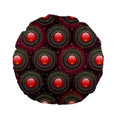 Abstract Circle Gem Pattern Standard 15  Premium Flano Round Cushions