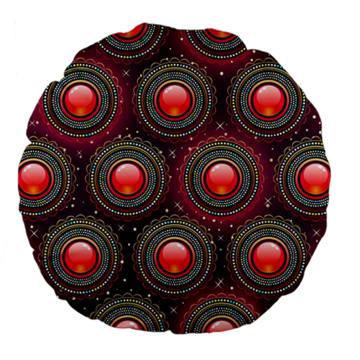 Abstract Circle Gem Pattern Large 18  Premium Flano Round Cushions