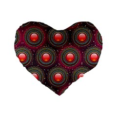 Abstract Circle Gem Pattern Standard 16  Premium Flano Heart Shape Cushions