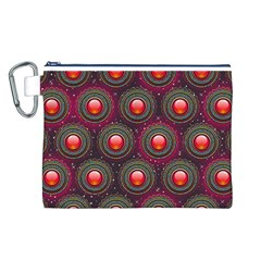 Abstract Circle Gem Pattern Canvas Cosmetic Bag (L)