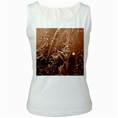 Pink Roses Roses Background Women s White Tank Top