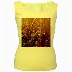 Pink Roses Roses Background Women s Yellow Tank Top