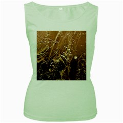 Pink Roses Roses Background Women s Green Tank Top