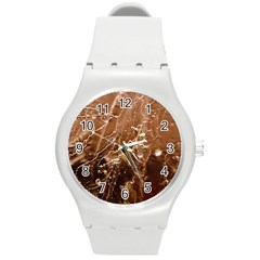 Pink Roses Roses Background Round Plastic Sport Watch (m)