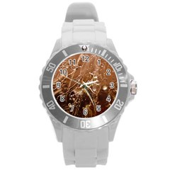 Pink Roses Roses Background Round Plastic Sport Watch (l)