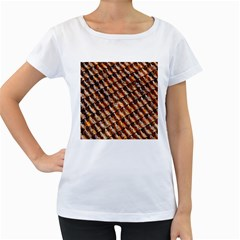 Dirty Pattern Roof Texture Women s Loose Fit T Shirt (white)