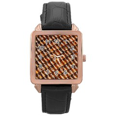 Dirty Pattern Roof Texture Rose Gold Leather Watch