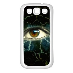 Cracked Bg w Eye Samsung Galaxy S3 Back Case (White)