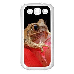 Frog In Red Flower Samsung Galaxy S3 Back Case (White)