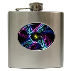 Abstract Art Color Design Lines Hip Flask (6 Oz)