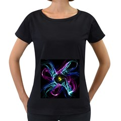 Abstract Art Color Design Lines Women s Loose-Fit T-Shirt (Black)