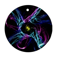 Abstract Art Color Design Lines Round Ornament (two Sides)