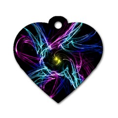 Abstract Art Color Design Lines Dog Tag Heart (Two Sides)