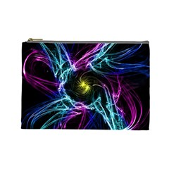 Abstract Art Color Design Lines Cosmetic Bag (Large)