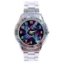Abstract Art Color Design Lines Stainless Steel Analogue Watch