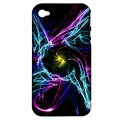 Abstract Art Color Design Lines Apple Iphone 4/4s Hardshell Case (pc+silicone)