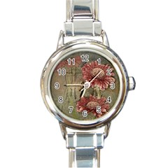 Flowers Plant Red Drawing Art Round Italian Charm Watch