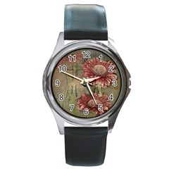 Flowers Plant Red Drawing Art Round Metal Watch
