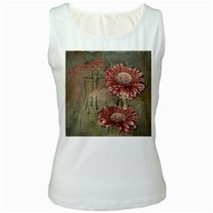 Flowers Plant Red Drawing Art Women s White Tank Top