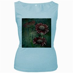 Flowers Plant Red Drawing Art Women s Baby Blue Tank Top