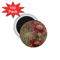 Flowers Plant Red Drawing Art 1.75  Magnets (100 pack)